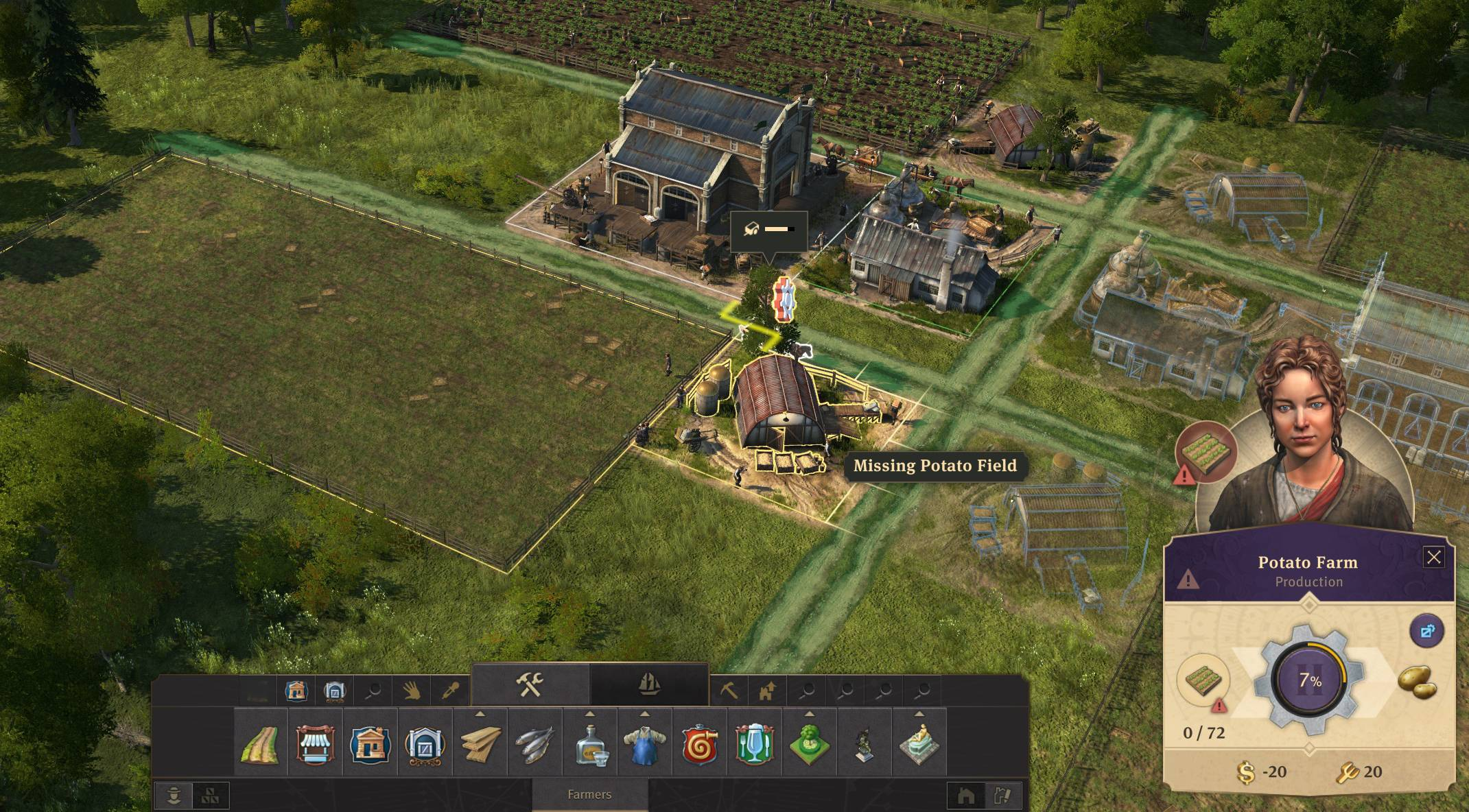 ANNO 1800] Farm shows missing fields although there's plenty