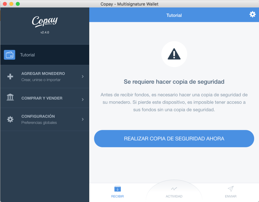 Tutorial Copay Alerta Copia Seguridad