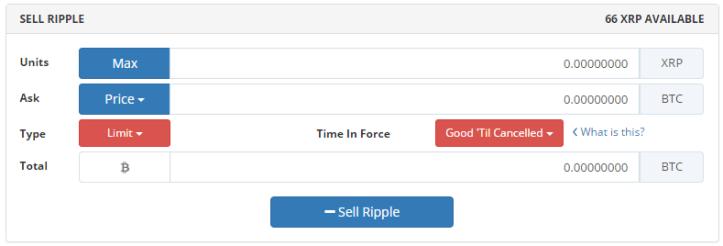 Sell-Ripple-Bittrex