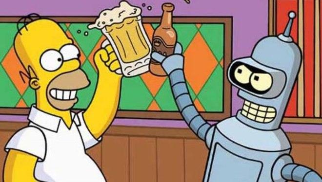 Homero Simpson y Bender