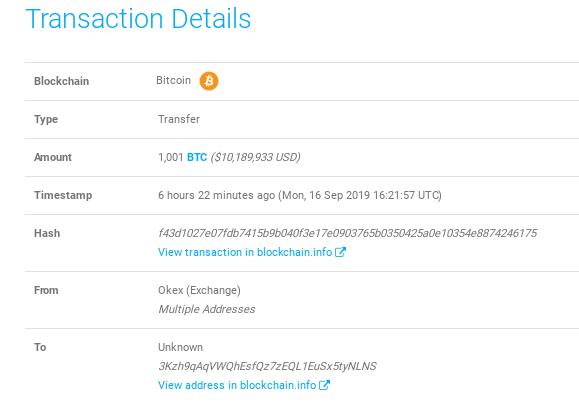 Movimiento de 1,001 BTC por una ballena Bitcoin