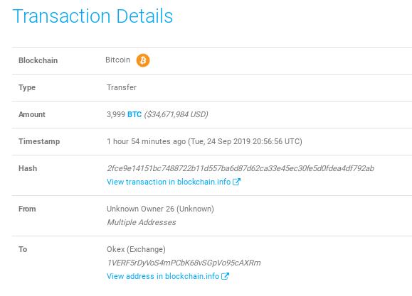 Movimiento de una ballena crypto por 3,999 BTC