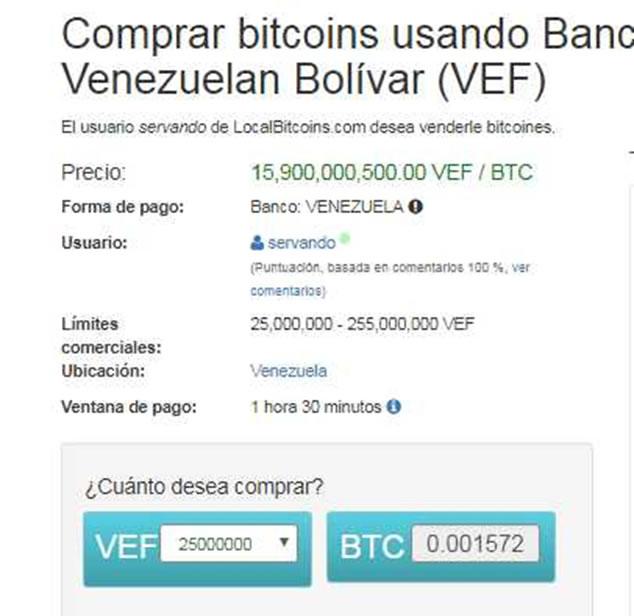 Pantalla de LocalBitcoins para comprar bitcoins