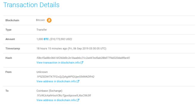 Movimiento de una ballena Bitcoin por 1000 BTC a Coinbase