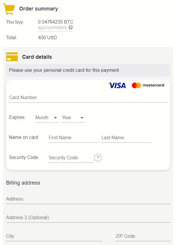 Comprar Bitcoin con tarjeta de crédito