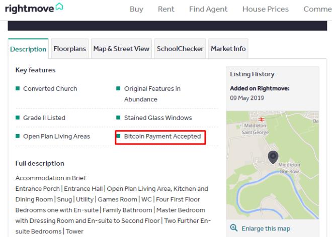 Criptomonedas: Casa de siete habitaciones se venden en Bitcoin.