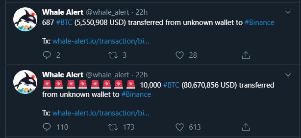Movimientos de ballenas crypto por 687 BTC y 10.000 BTC