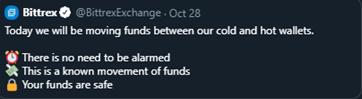 Mensaje del exchange Bittrex sobre el fuerte movimiento de BTC
