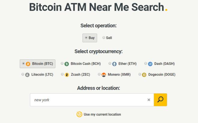 En este caso introdujimos New York como nuestra ubicación para encontrar un Bitcoin ATM