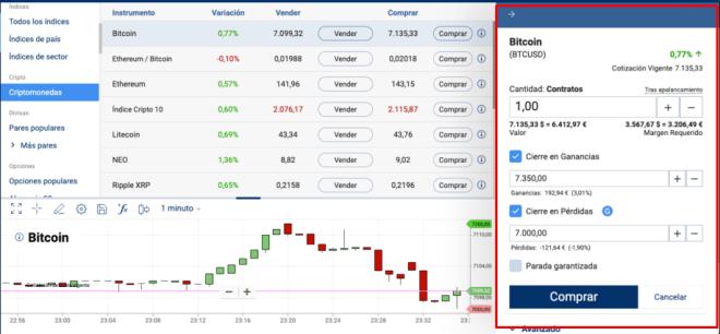 En el panel del broker Plus500 podrás elegir cuantos CFD de Bitcoin negociar