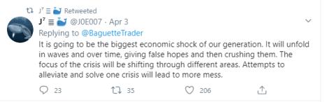 """Tweet original de la ballena Bitcoin J0E007. """"Va a ser el mayor shock económico de nuestra generación"""". Fuente: Twitter."""