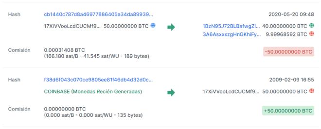Movimiento de 50 BTC en la cuenta de, supuestamente, Satoshi Nakamoto. Fuente: Blockchain.com