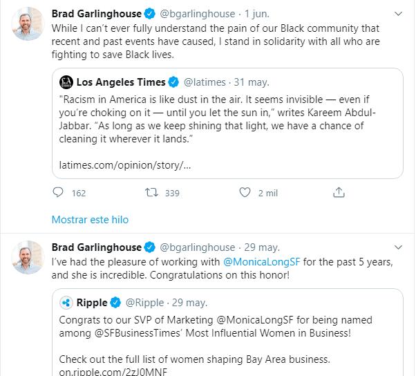 Imagen del perfil de Brad Garlinghouse en Twitter, donde observamos que no ha hecho ningún comentario sobre la reunión con el Banco Central de Brasil.