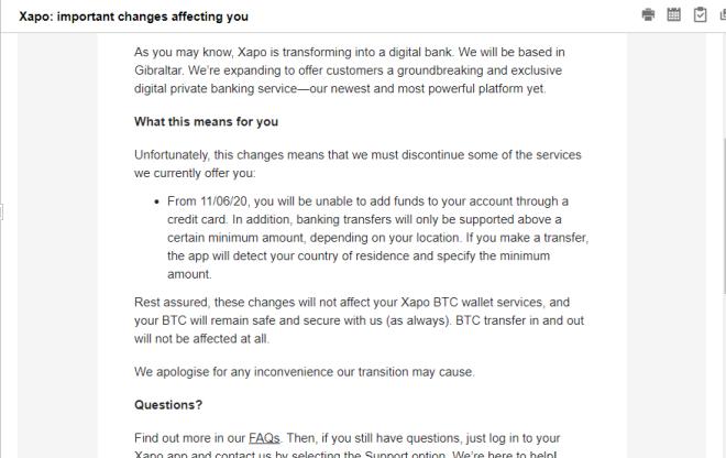 Anuncio de Xapo vía correo electrónico para sus usuarios.