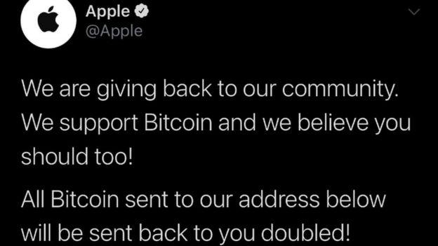 """En la cuenta de Apple, los hackers escribieron que """"la empresa cree en Bitcoin"""", y seguidamente solicitan el envío de criptomonedas. Fuente: Twitter.com"""