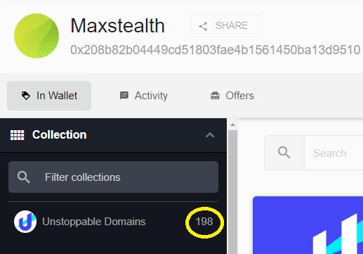 Imagen obtenida de OpenSea donde observamos que el usuario posee 198 dominios .crypto.