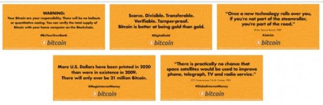"""Mensajes publicitarios para la campaña """"Bitcoin Tram"""". Fuente: Bitcoin.org"""