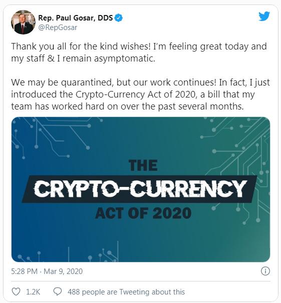 Diputado republicano, Paul Gosar, representa ley regulatoria que ballena Bitcoin Joe007, califica como una amenaza para la libertad financiera de las criptomonedas. Fuente: Twitter