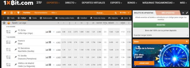 En 1xBit podrás apostar en cualquier juego de La Liga española con Bitcoin