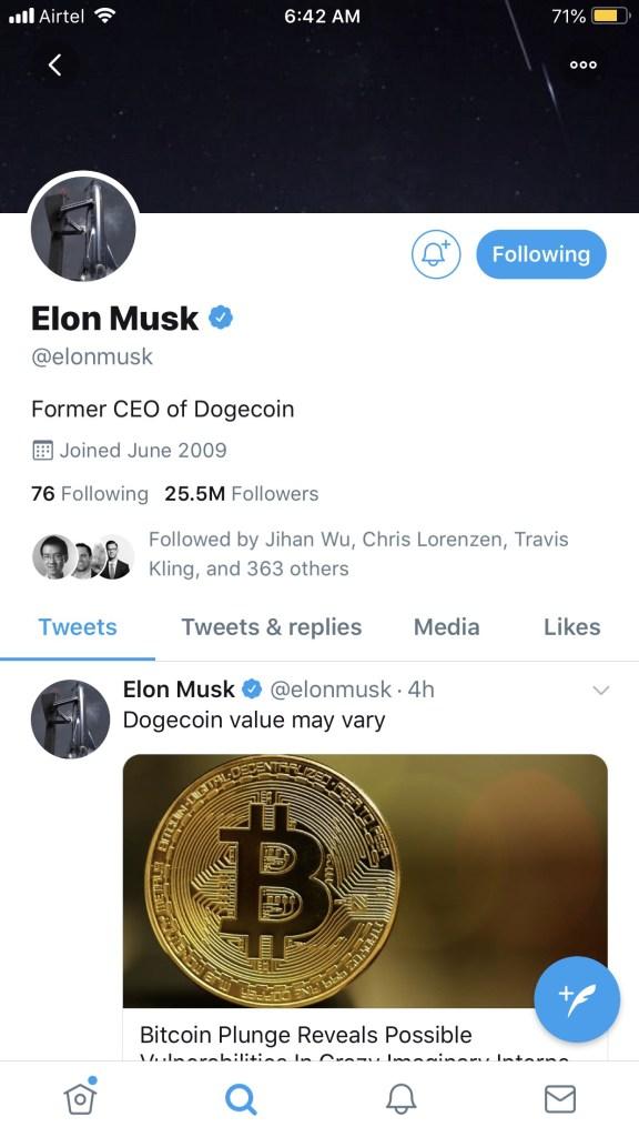 Elon Musk se autoproclama CEO de DOGE, como forma de celebrar el April Fools. Fuente: SnapperBuzz.