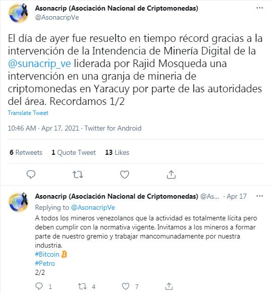 Mineros de Bitcoin venezolanos denunciaron una situación irregular con funcionarios. Horas más tarde, Asonacrip anunció la protección de un minero detenido. Fuente: Twitter