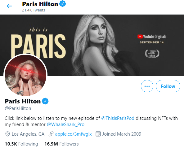 Paris Hilton is a Bitcoin hodler and she shows it with her laser eyes.