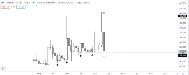 Gráfico mensual de BSV vs USD. Fuente: TradingView.