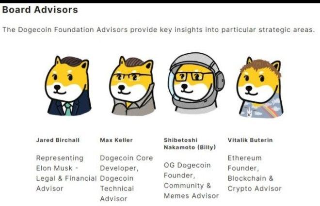 Conseillers de la Fondation.  Source : Dogecoin