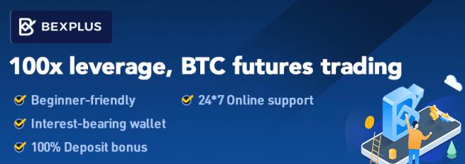 """""""Apalancamiento 100X, comercio de futuros BTC. Amigable con los que comienzan. Billetera con intereses. Bonus de depósito del 100%. Apoyo online 24/7"""""""
