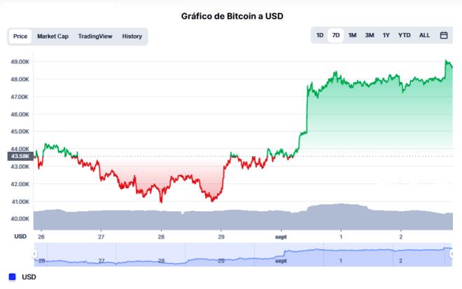 Este mes de octubre la tradicional tendencia positiva del Bitcoin se hizo presente. Aumentando la cotización de la criptomoneda en un 12%, durante el 1er día del mes de octubre. Al momento de la redacción de este articulo el Bitcoin cotiza a $48.016 dólares. Fuente: CoinMarketCap