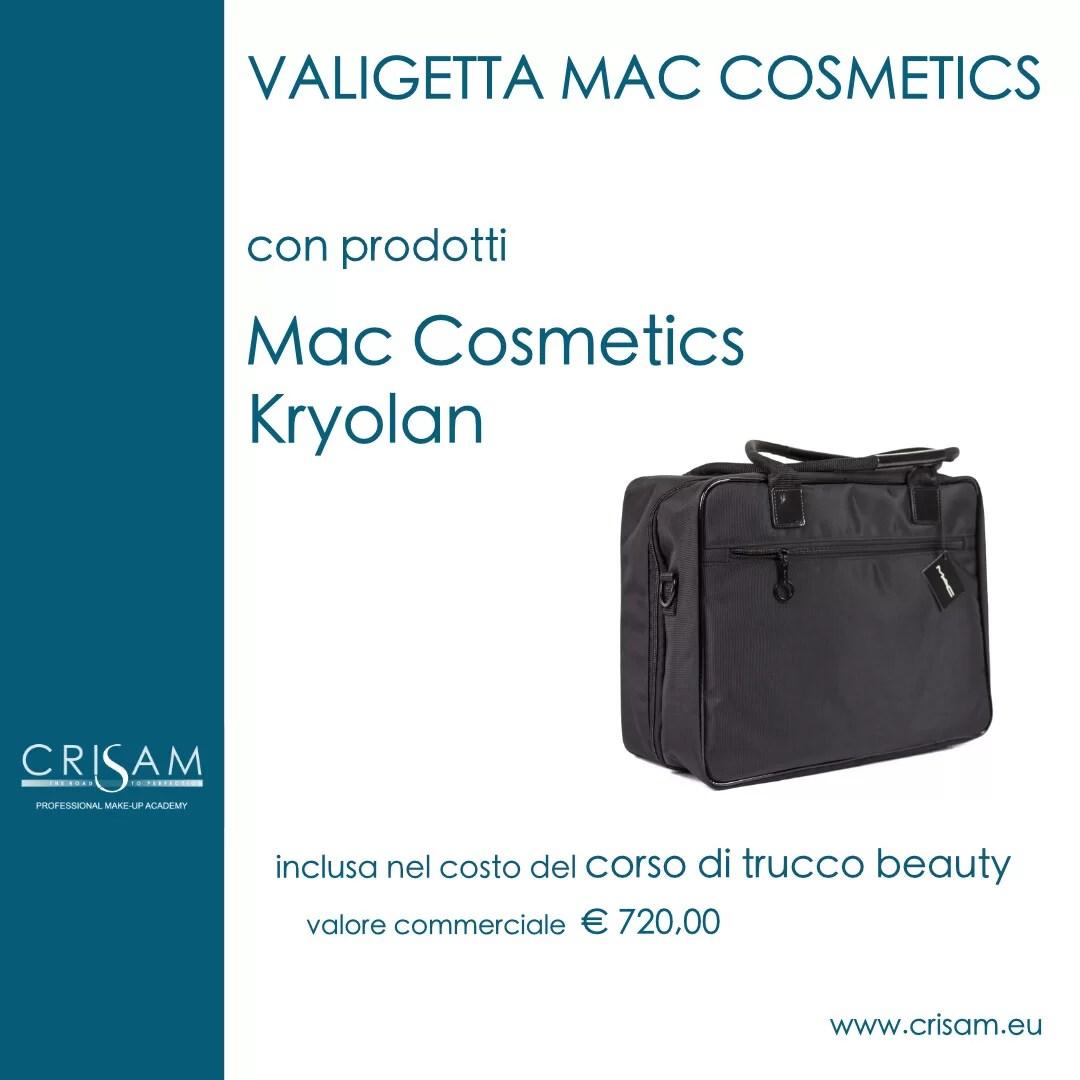 Valigetta con prodotti professionali make-up, Mac cosmetics per Crisam Professional Make-up Academy