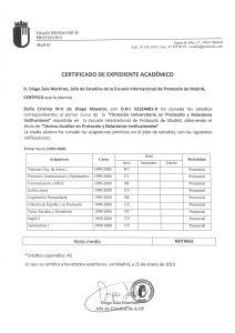 Título de Técnico auxiliar especialista en Protocolo y Relaciones Institucionales