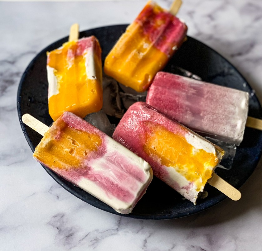 Mango and Raspberry Popsicles