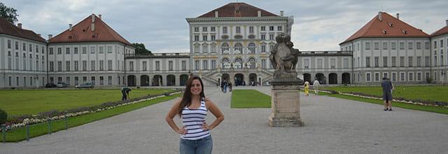 Foto da frente do castelo de Nymphenburg