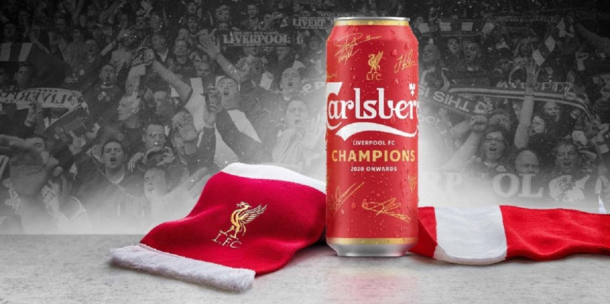 Carlsberg, ФК «Ливерпуль», победа, бутылка, этикетка,