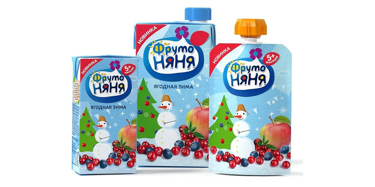 «ФрутоНяня», «Ягодная зима», пюре, сок, для малышей с 5 месяцев
