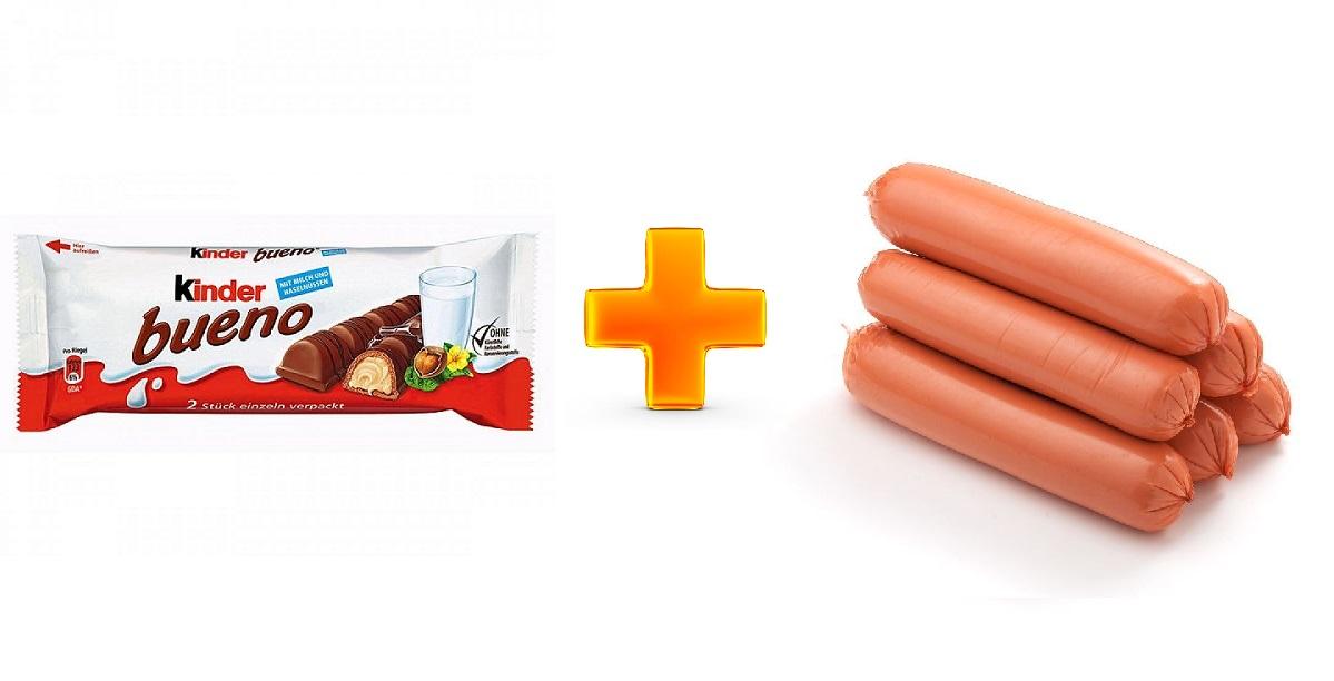 Kinder Bueno, шоколад в сосиске, Kinder Bueno сосиска