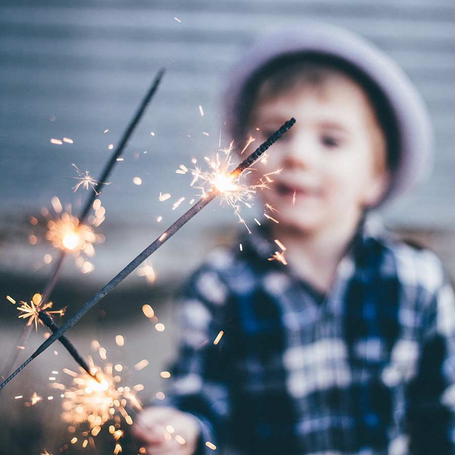 Boy with sparkler
