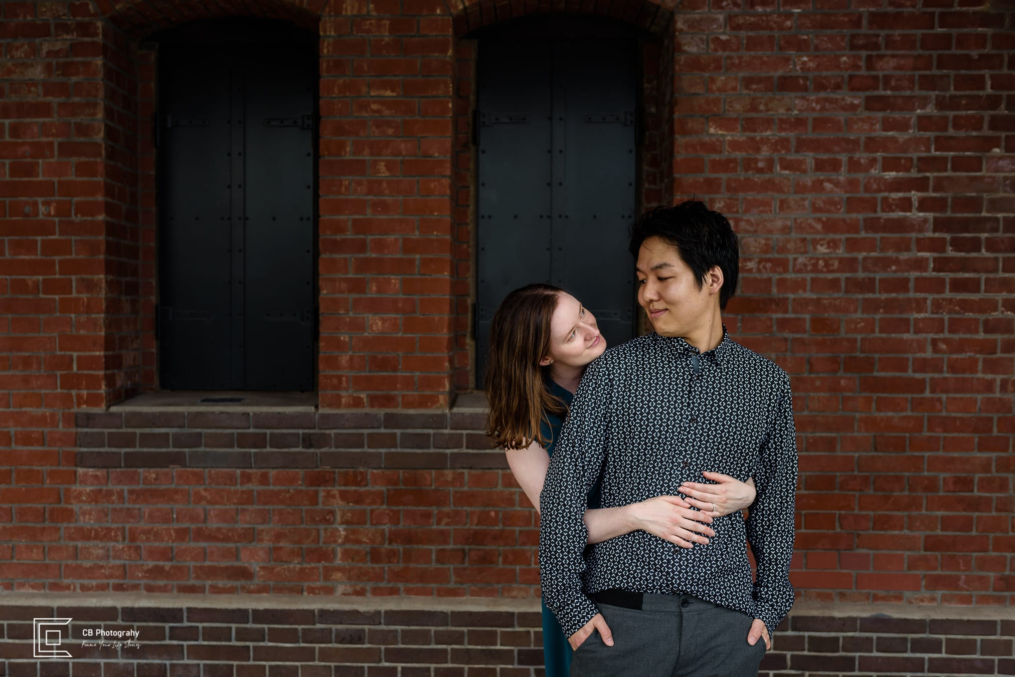 Save The Date couple portrait at Red Brick Warehouse in Yokohama