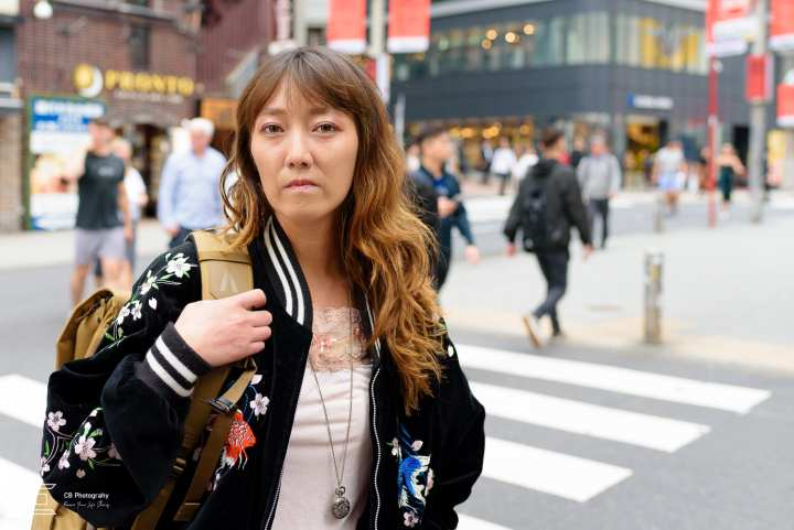 Portrait of a young woman wearing fashion outfit taken in Shibuya by the Tokyo portrait photographer Cristian Bucur