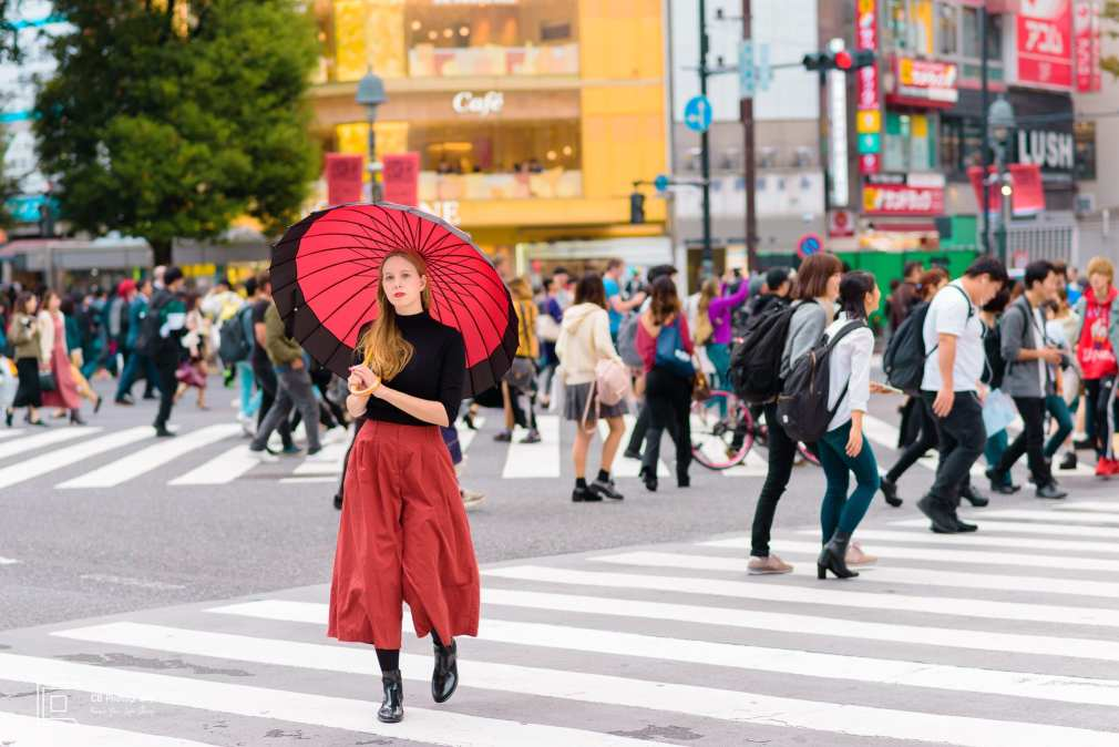 Portrait of a model with a Japanese umbrella from a portrait shoot in Shibuya waking across the iconic scramble intersection, image by the Tokyo Photographer Cristian Bucur