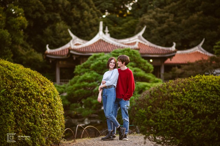 Couple's Portrait in the Japanese Garden in Shinjuku Gyoen National Park