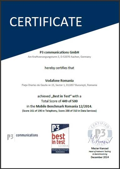 certificare - vodafone romania
