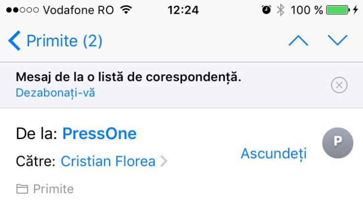 dezabonare newsletter - ios 10