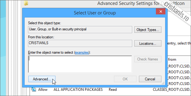 Select User or Group Advanced