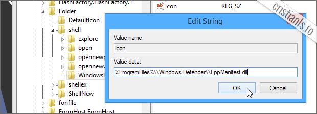 Adaugare iconita Scanare cu Windows Defender