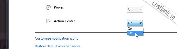 dezactivare notificari componenta windows