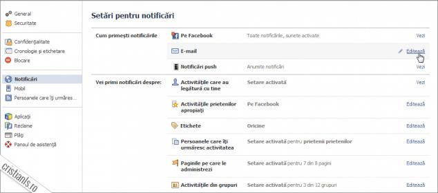 notificari email facebook