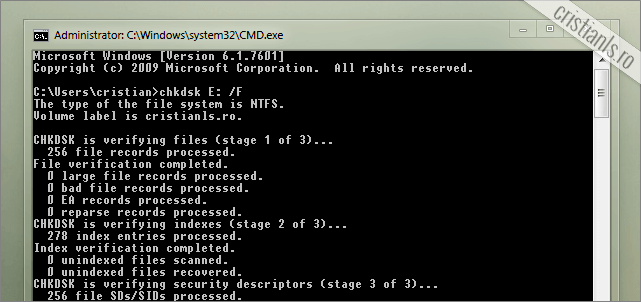 verificare erori hard disk cmd