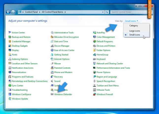Control Panel » Windows Defender